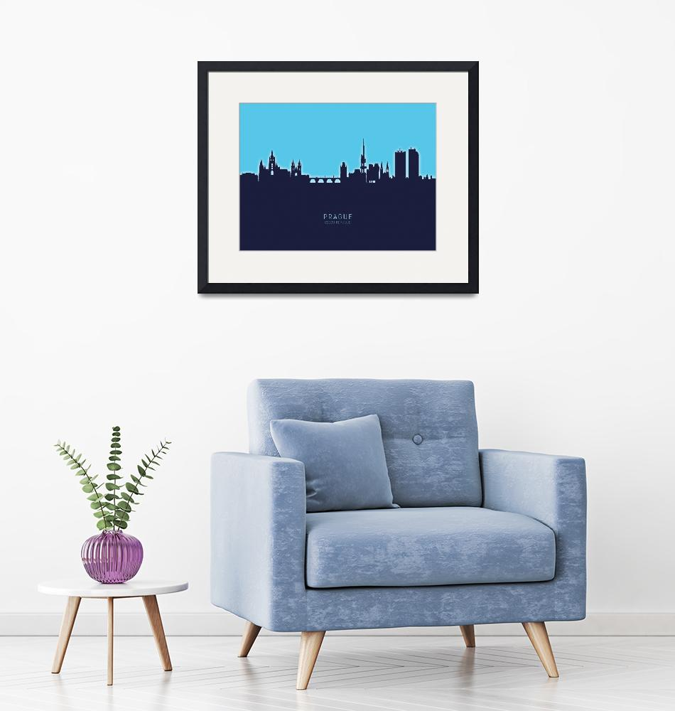 """Prague (Praha) Czech Republic Skyline""  (2020) by ModernArtPrints"