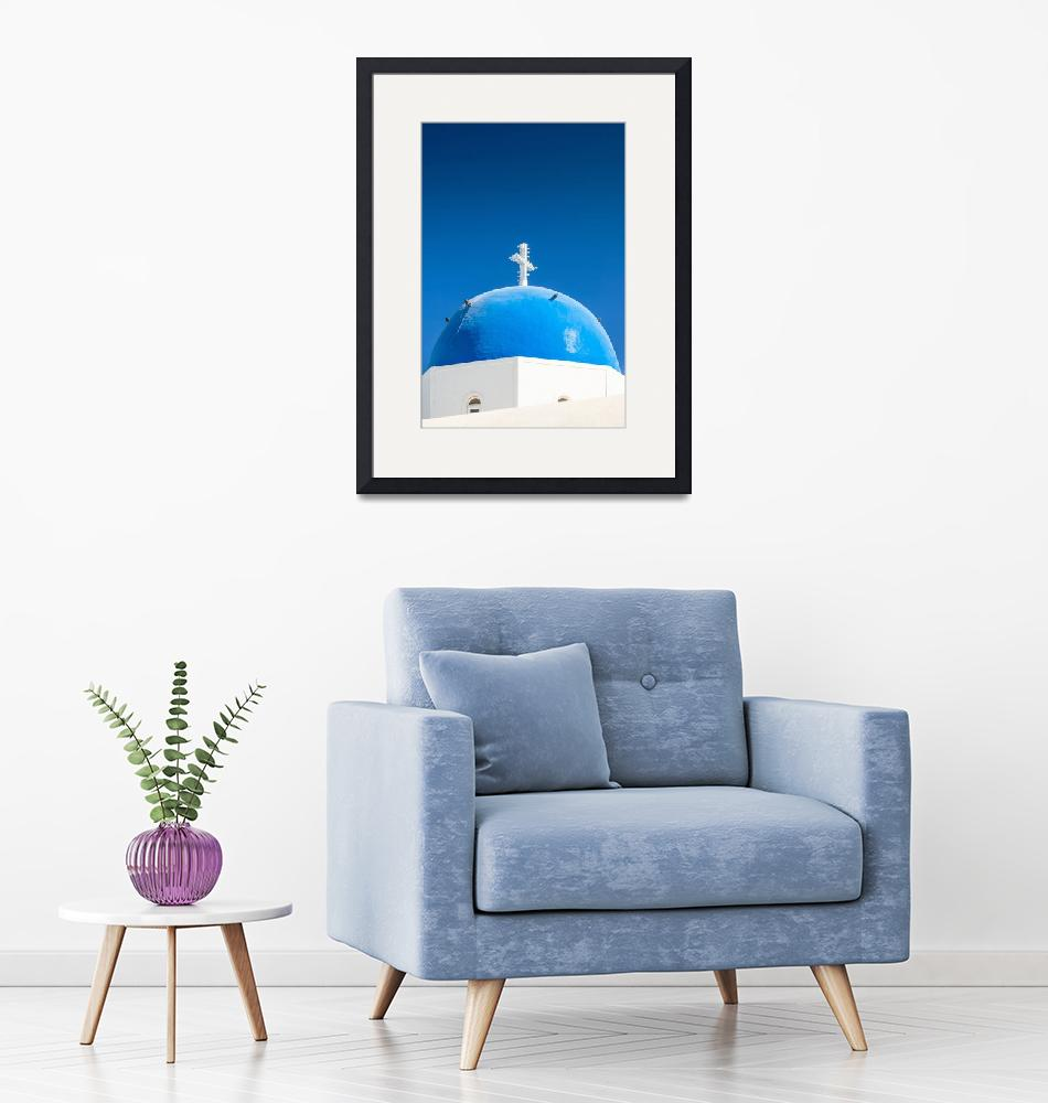 """Santorini Blue Dome""  (2012) by bkindler"