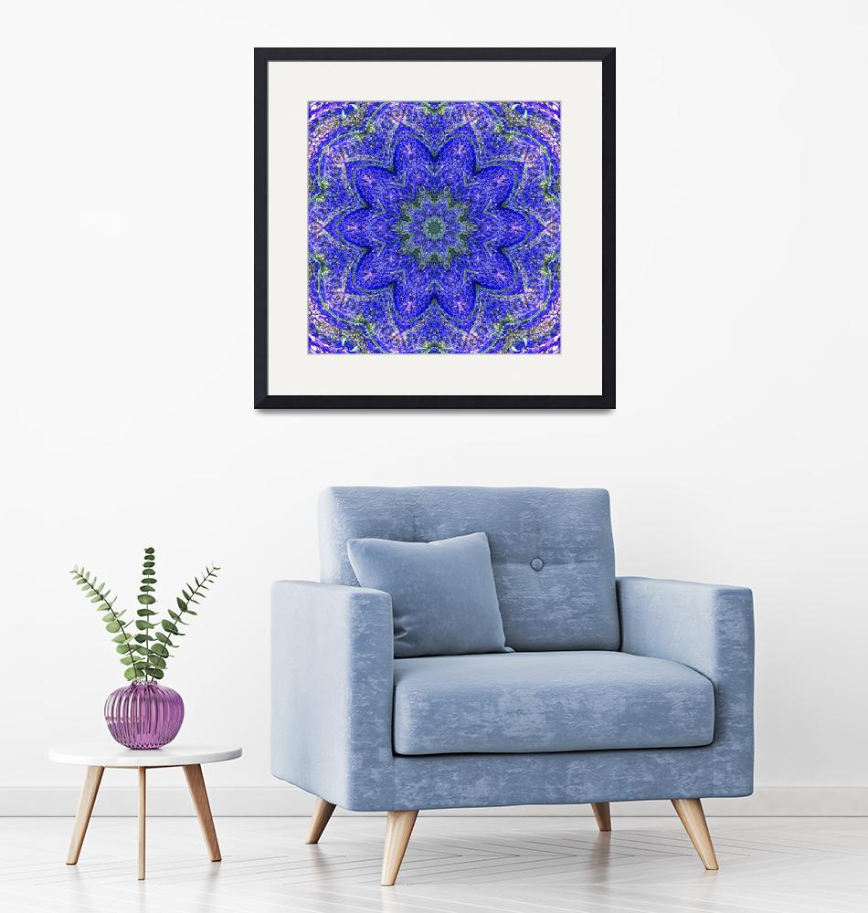 """""""Blue and Purple Lavender Floral Kaleidoscope""""  (2010) by PhotographsByCarolFAustin"""