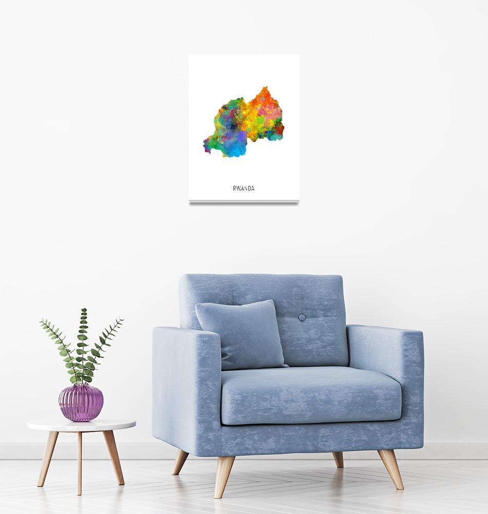 """Rwanda Watercolor Map""  (2019) by ModernArtPrints"