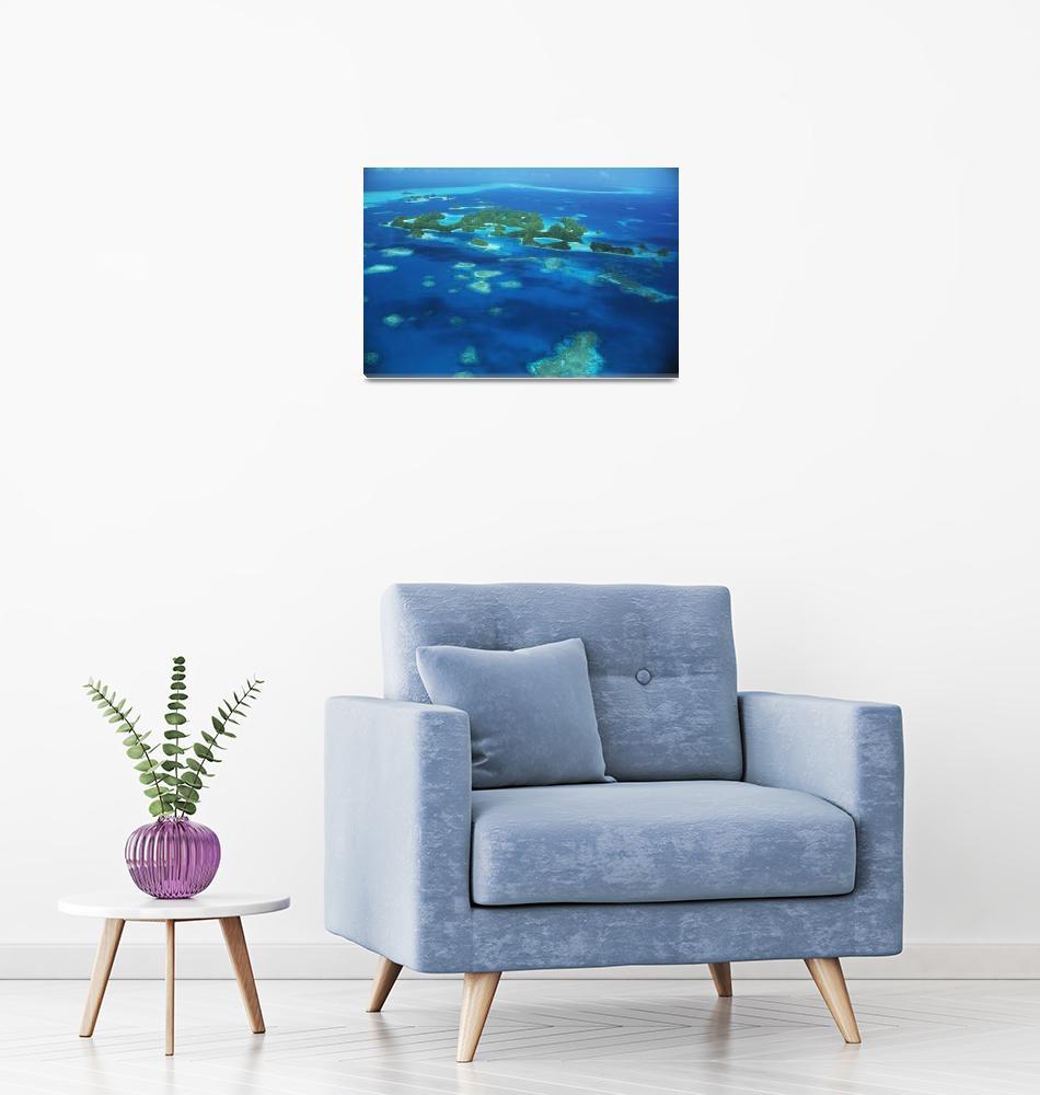 """Micronesia, Palau, Aerial Of Rock Islands, Blue Oc""  by DesignPics"