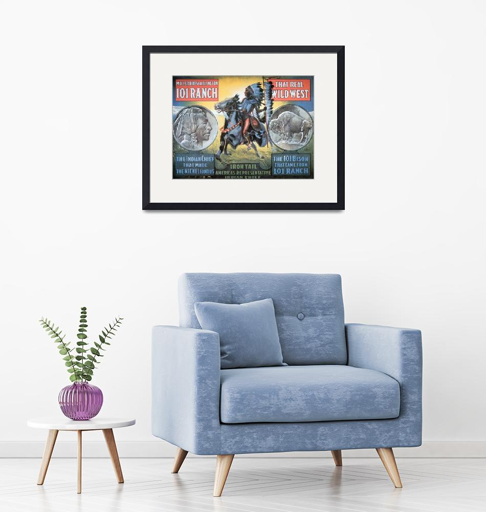 """""""Wild West Show Vintage Poster ft Chief Iron Tail""""  by fineartmasters"""