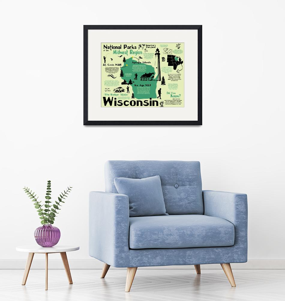 """Wisconsin National Parks Infographic Map""  by Alleycatshirts"