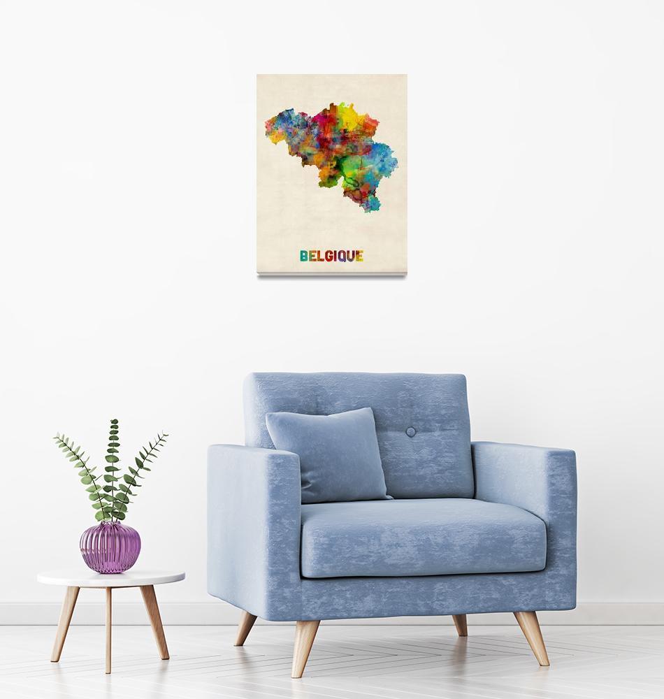 """Belgium Watercolor Map""  (2015) by ModernArtPrints"