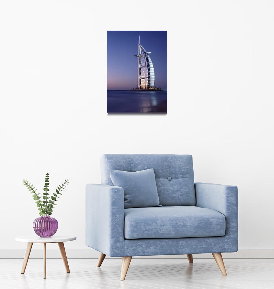 """The Burj Al-Arab Or Arabian Tower At Dusk""  by DesignPics"