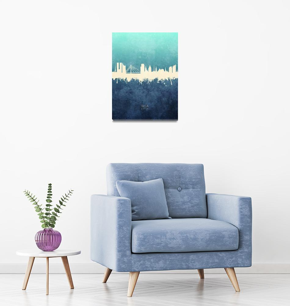 """Riga Latvia Skyline""  (2019) by ModernArtPrints"