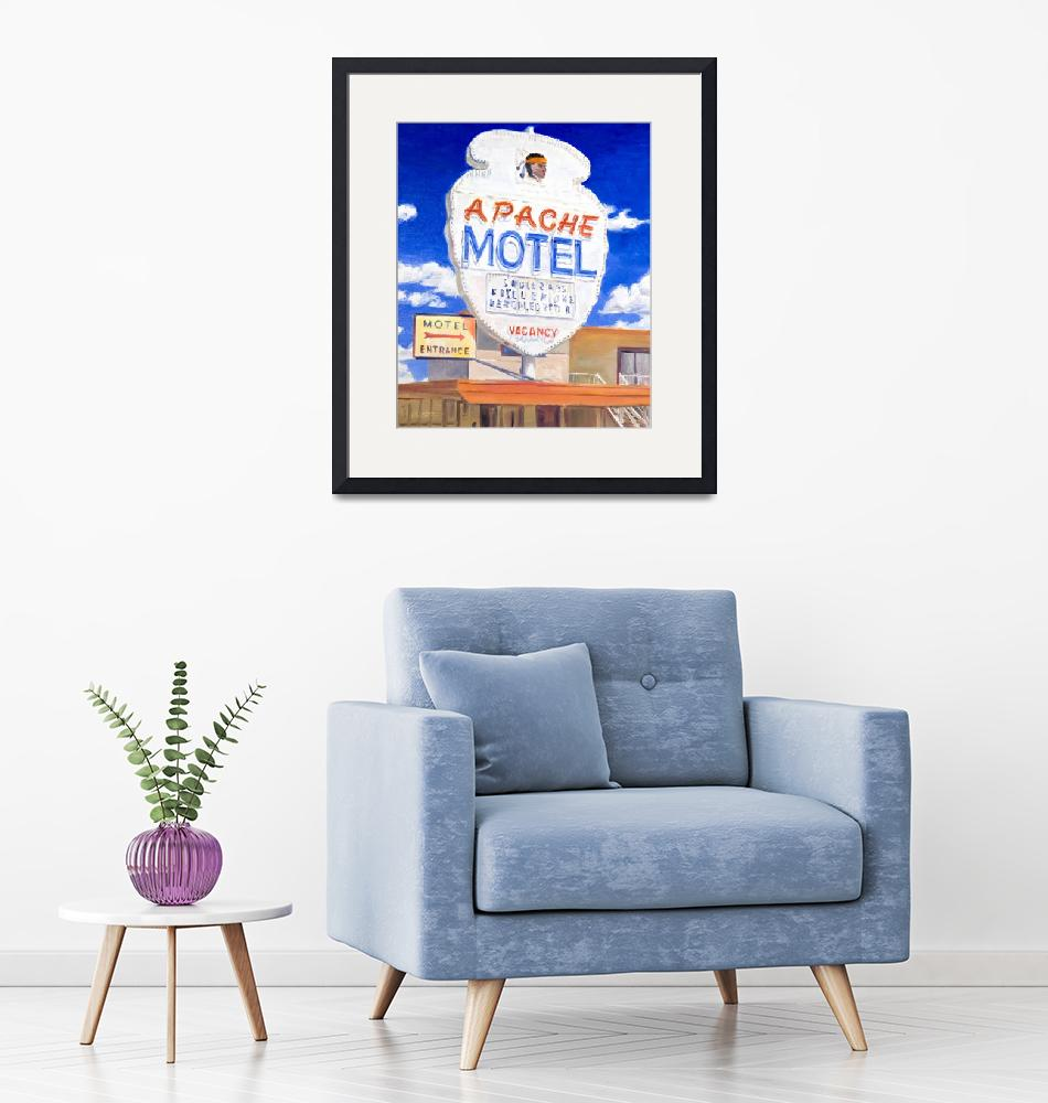 """""""Painting Of Retro Neon Apache Motel Sign On Route""""  (2011) by KeatingArt"""