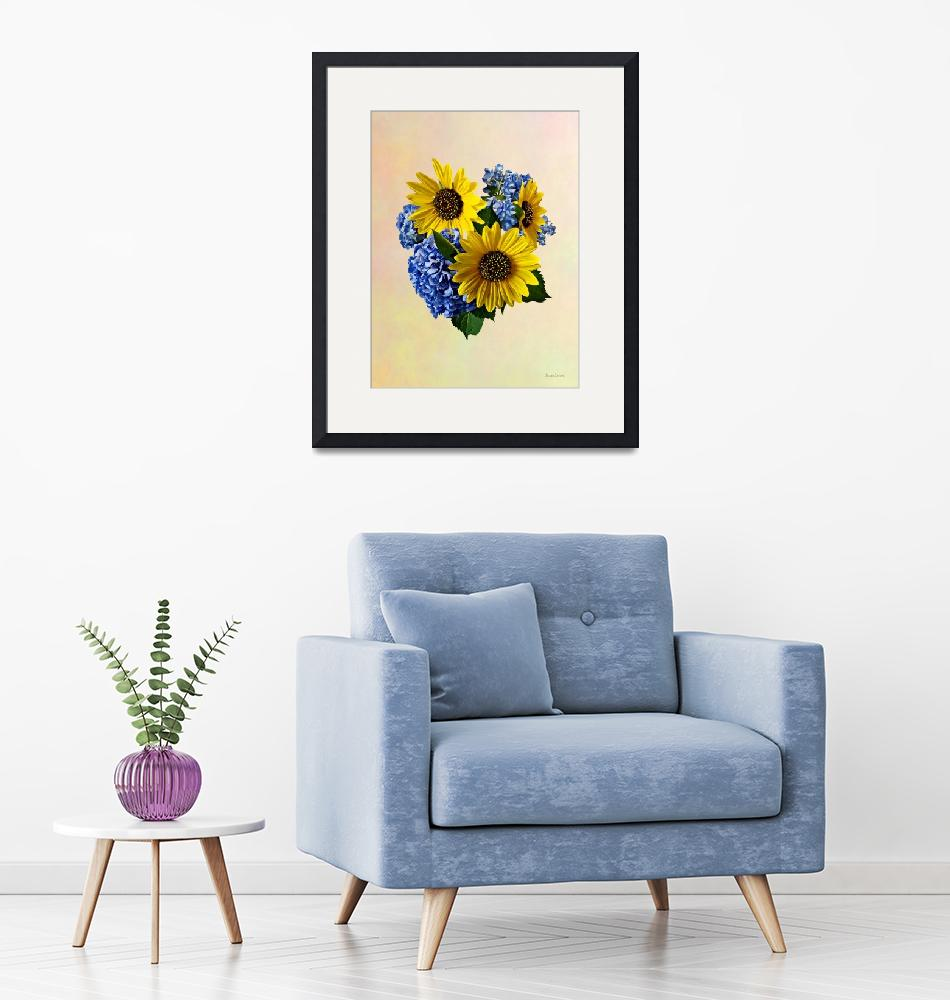 """Sunflowers and Hydrangeas""  by susansartgallery"