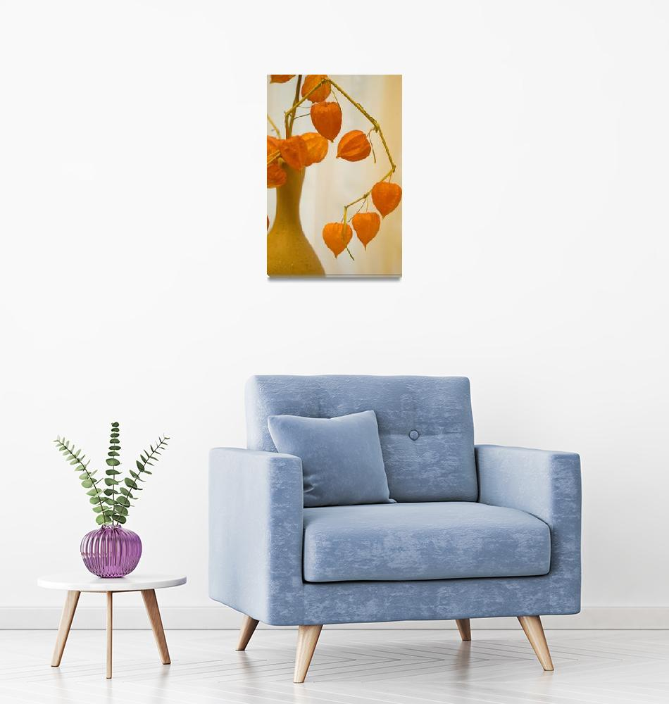 """""""Orange still life with a jug and the dried flowers""""  by RomanPopov"""