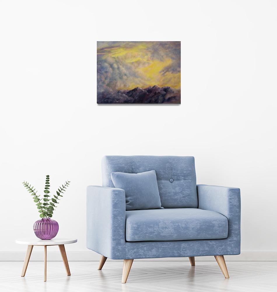 """Intense sky over the Mountain Range""  (2003) by Lenora"