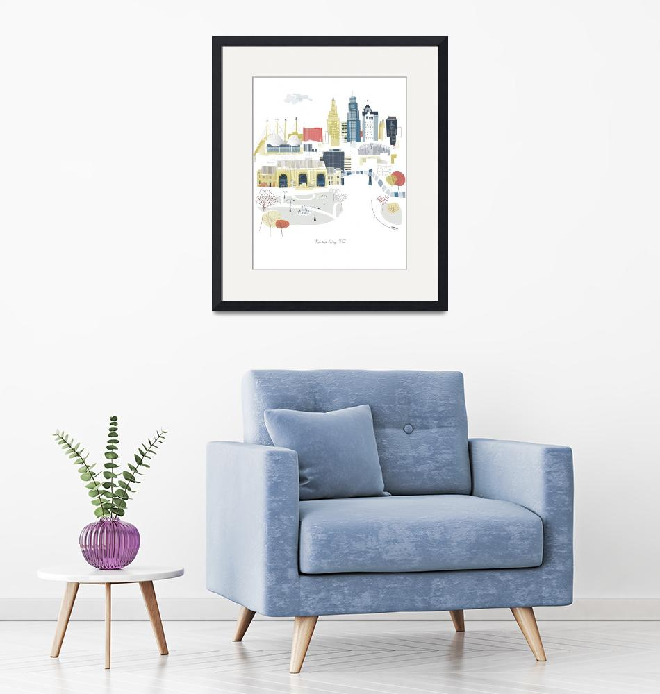 """Kansas City Modern Cityscape Illustration""  by AlbieDesigns"