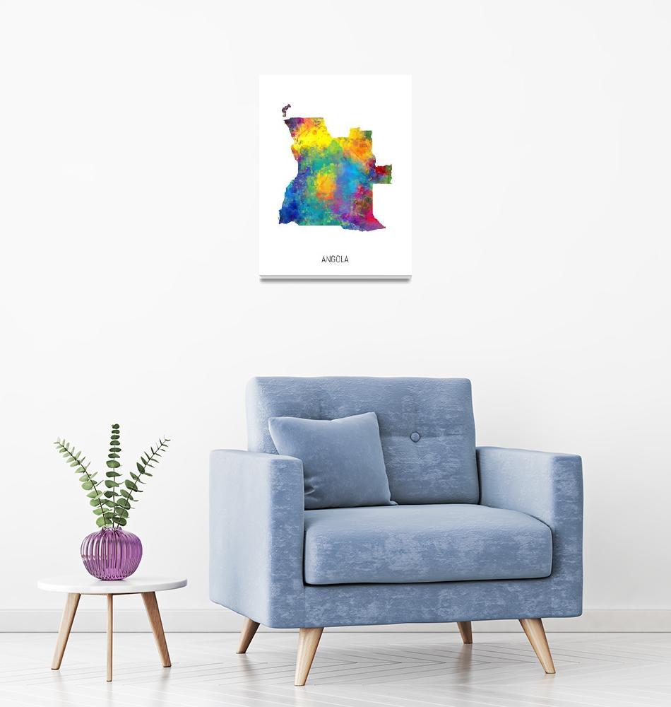 """Angola Watercolor Map""  (2019) by ModernArtPrints"