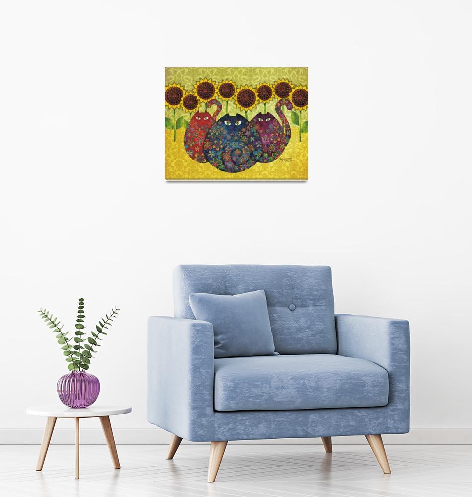 """Cats with Sunflowers""  (2009) by sandygrafik_arts"