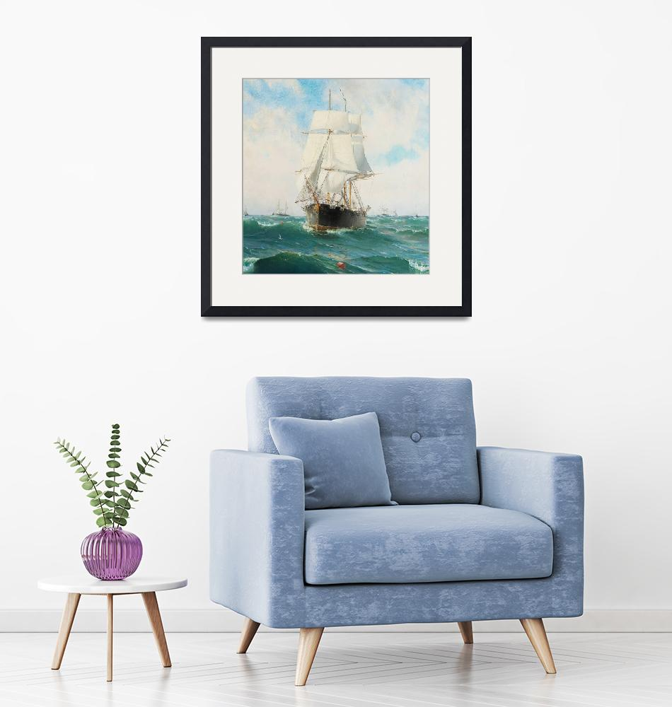 """""""Vintage Swedish Sailboat Painting (1887)""""  by Alleycatshirts"""