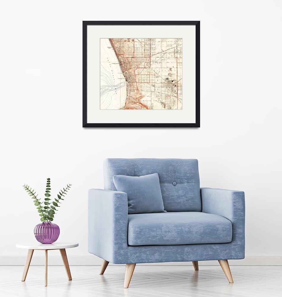 """""""Vintage Map of Redondo Beach & Torrance CA (1934)""""  by Alleycatshirts"""