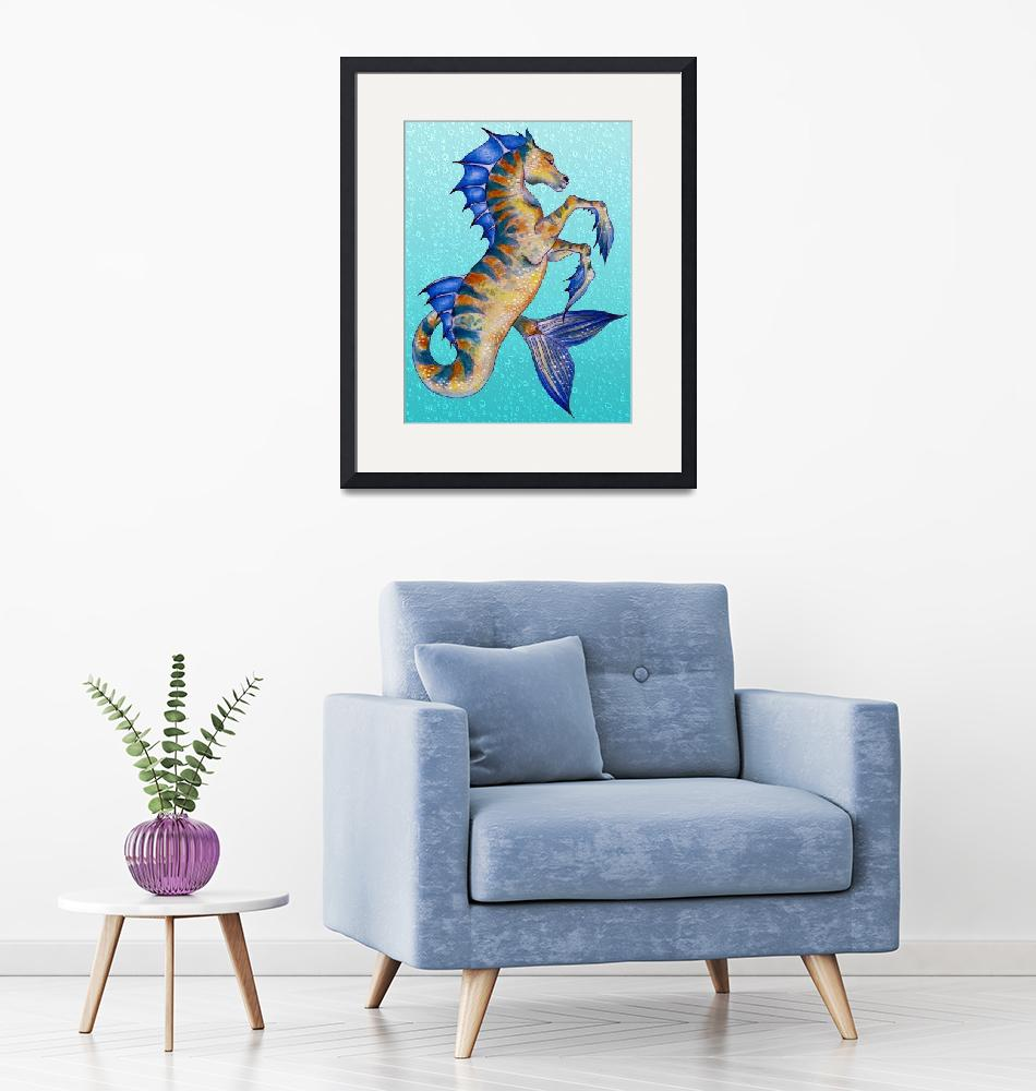"""Seahorse Turquoise""  (2015) by artdeep"