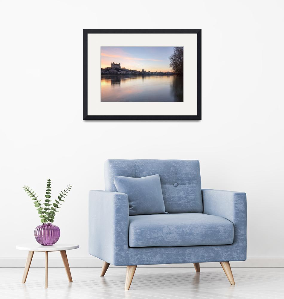 """""""Saumur and the Loire river at sunset""""  (2019) by emcampos"""