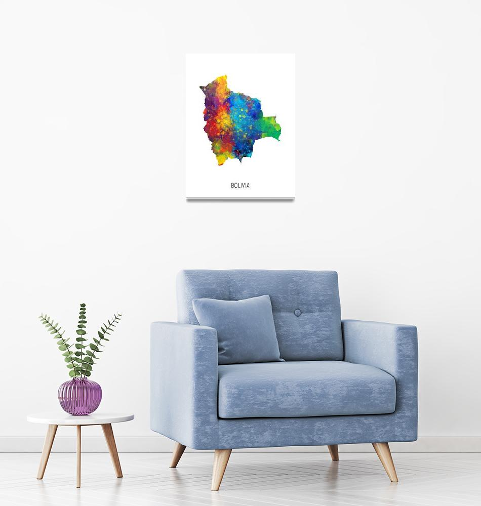 """Bolivia Watercolor Map""  (2019) by ModernArtPrints"