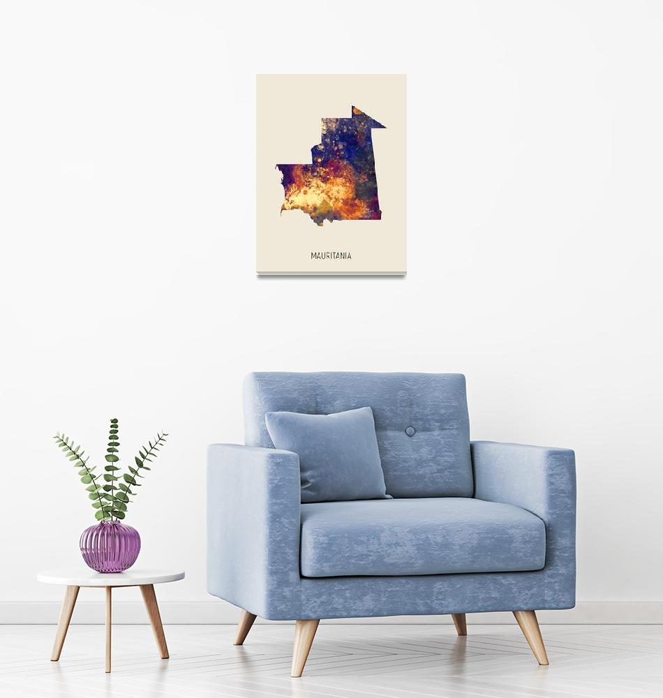 """Mauritania Watercolor Map""  (2019) by ModernArtPrints"