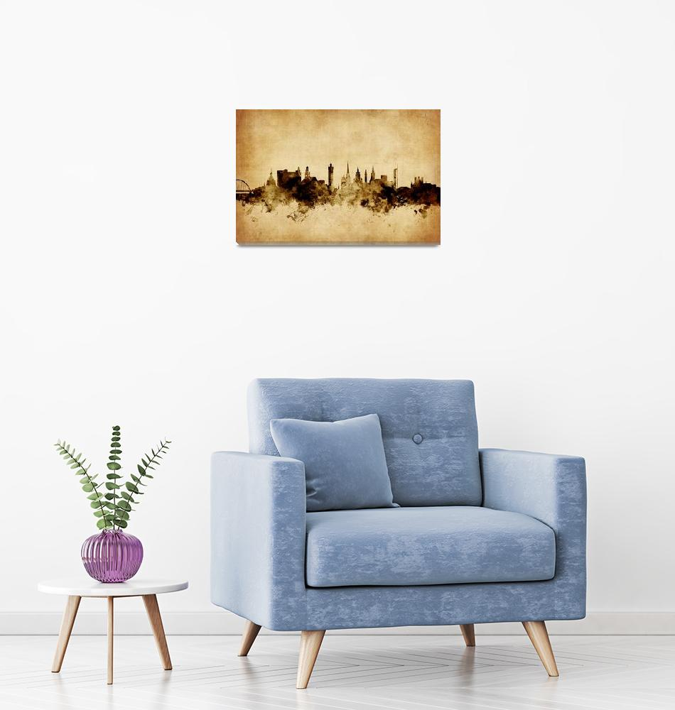 """Glasgow Scotland Skyline""  (2015) by ModernArtPrints"