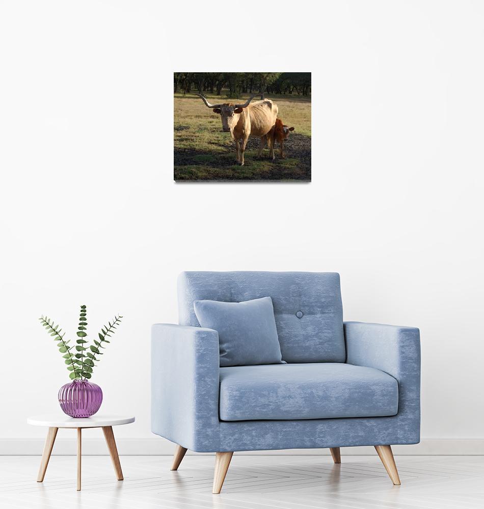 """Longhorn Mama and Calf Near Goliad""  (2008) by LindaWolff"