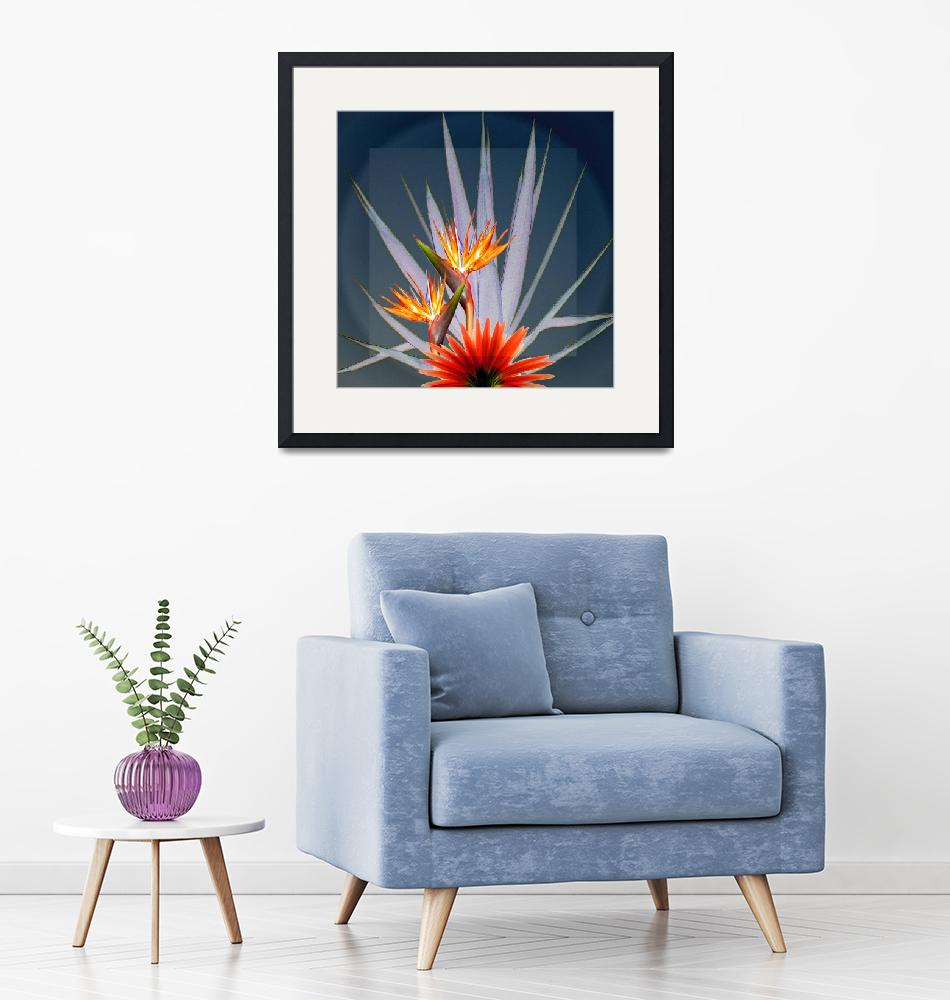"""""""Flowers on a background of a cactus""""  (2010) by milikArt"""