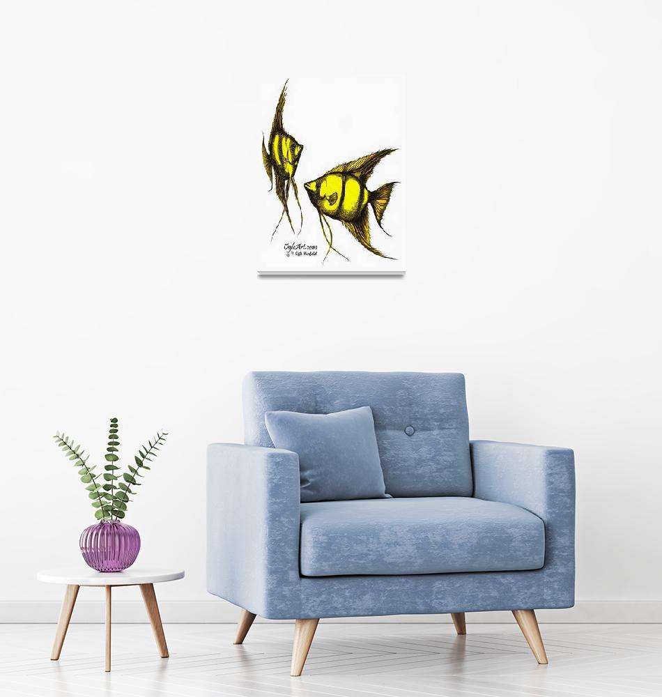"""AngelFish-yellow-orange""  (1991) by OgleWarfield"