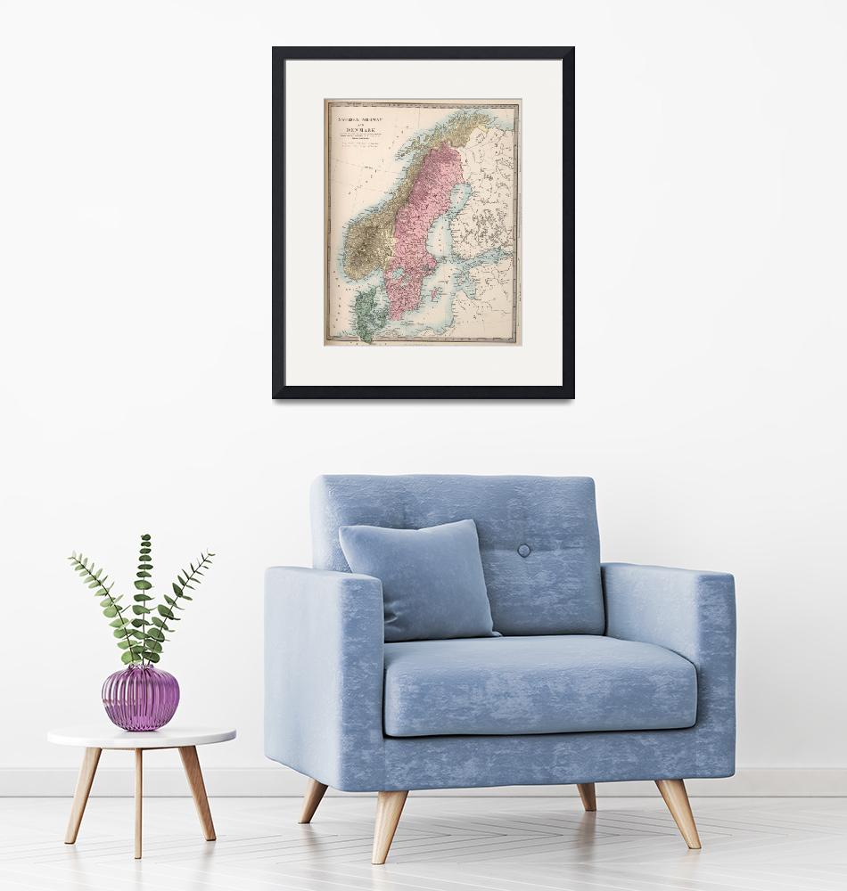 """""""Vintage Map of Norway and Sweden (1865)""""  by Alleycatshirts"""