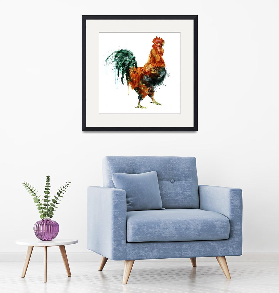 """""""Rooster Watercolor Painting""""  (2015) by MarianVoicu"""