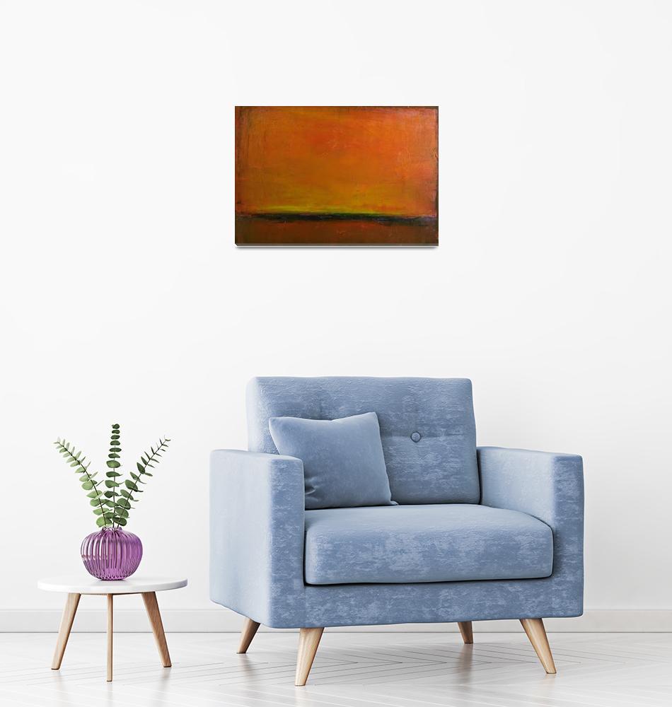 """orange red horizon sunset""  (2009) by kristensteinfineart"