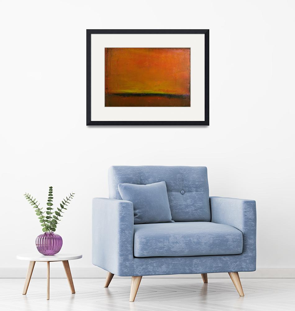 """orange red horizon sunset""  (2009) by kristensteinfineart"