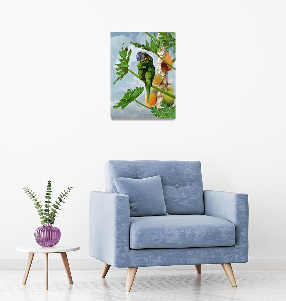 """""""Lorikeet in Papaya Tree""""  (2021) by spadecaller"""