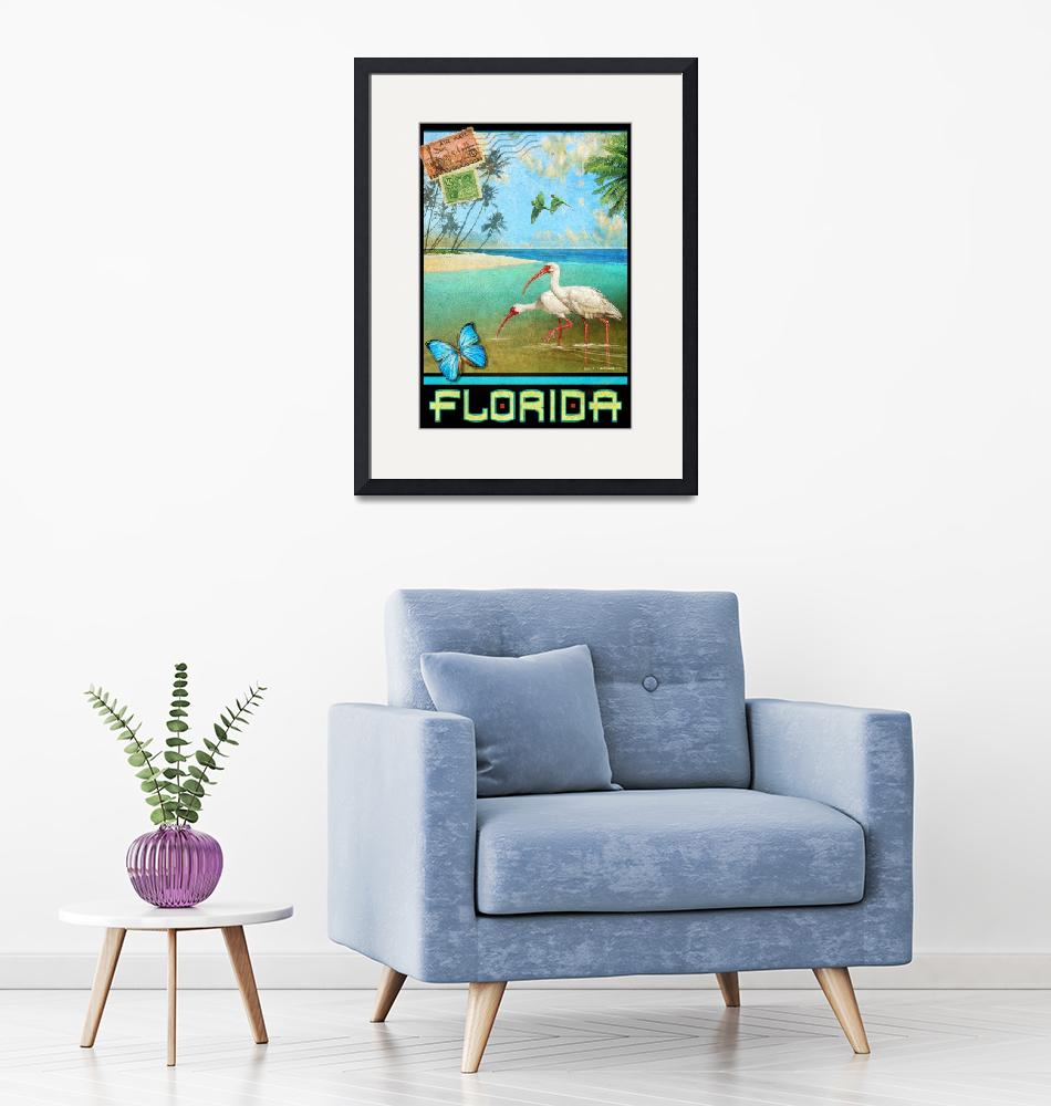 """""""vintage florida travel poster with ibis""""  (2017) by rchristophervest"""