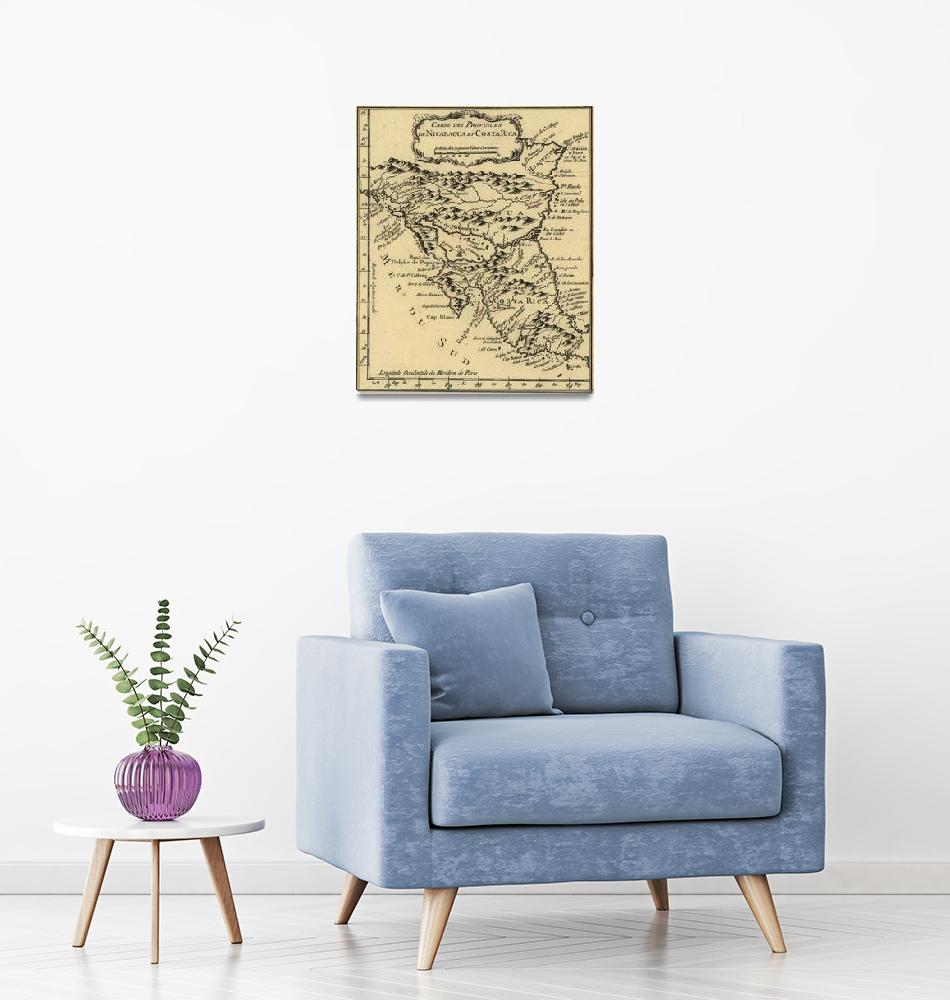 """""""Vintage Map of Nicaragua and Costa Rica (1764)""""  by Alleycatshirts"""