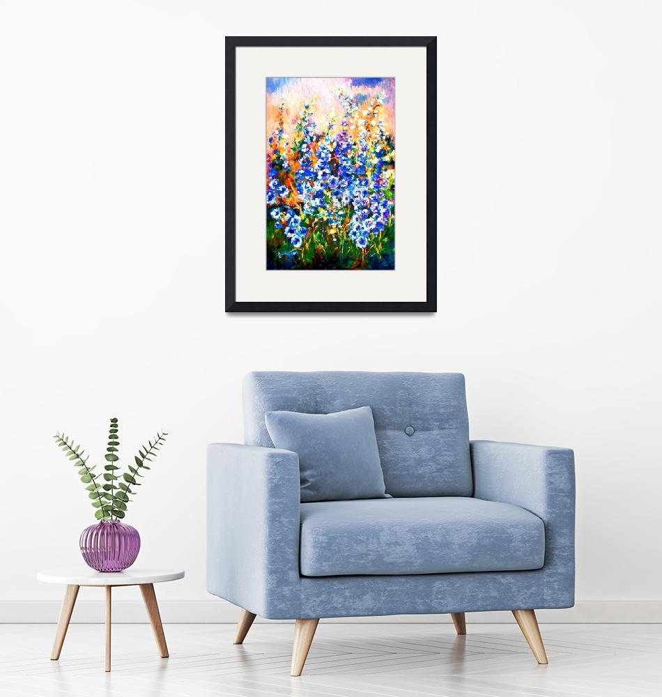 """""""Delphiniums Impressionist Flowers""""  (2015) by GinetteCallaway"""