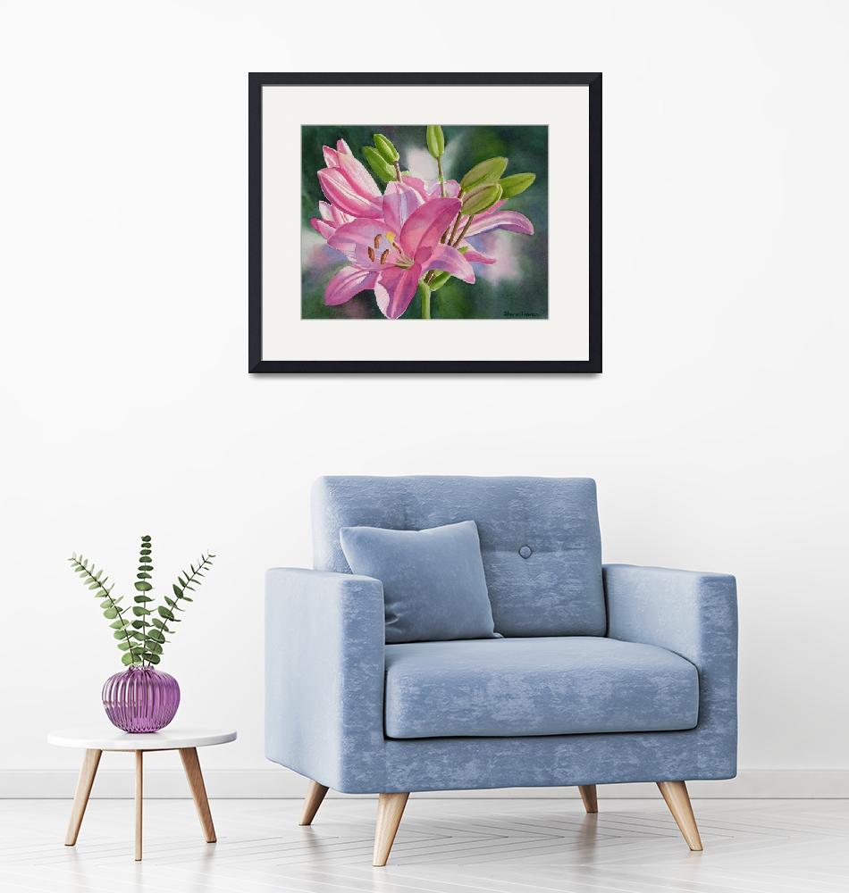 """""""Pink Lily with Buds""""  (2011) by Pacific-NW-Watercolors"""
