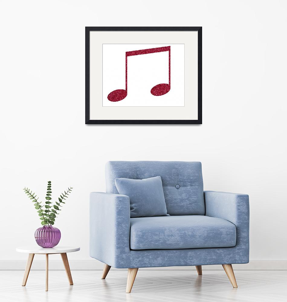 """Pink Faux Glitter Music Notes""  (2020) by ValeriesGallery"