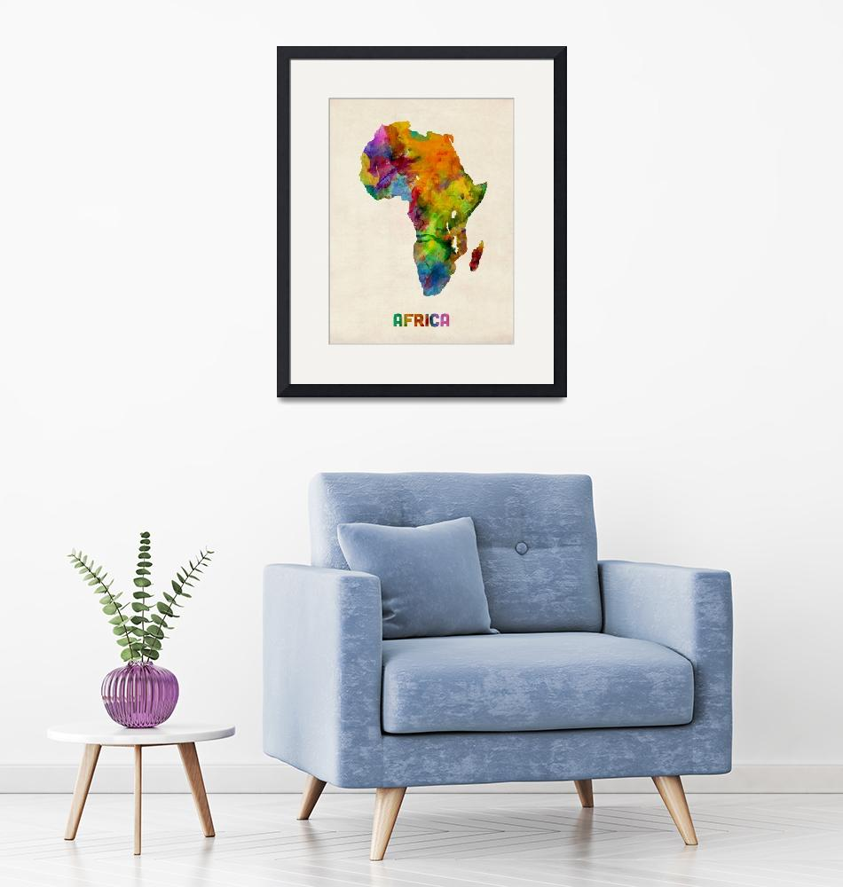 """Africa Watercolor Map""  (2013) by ModernArtPrints"