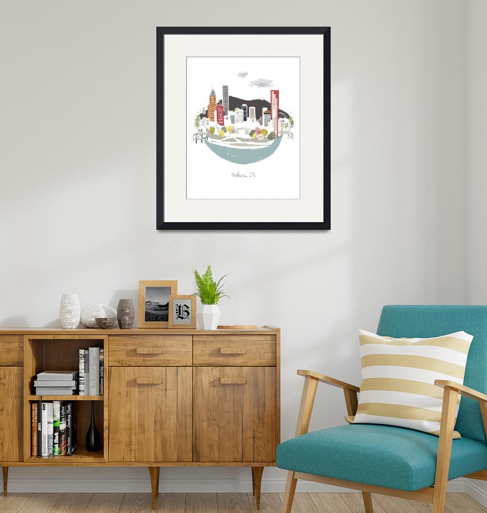"""""""Portland Waterfront Modern Cityscape Illustration""""  by AlbieDesigns"""