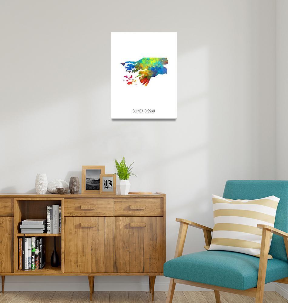 """Guinea-Bissau Watercolor Map""  (2019) by ModernArtPrints"