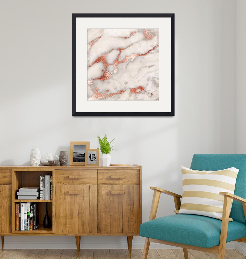 """Rose Gold Marble Blush Pink Copper Metallic Foil"" by fineartgallery"