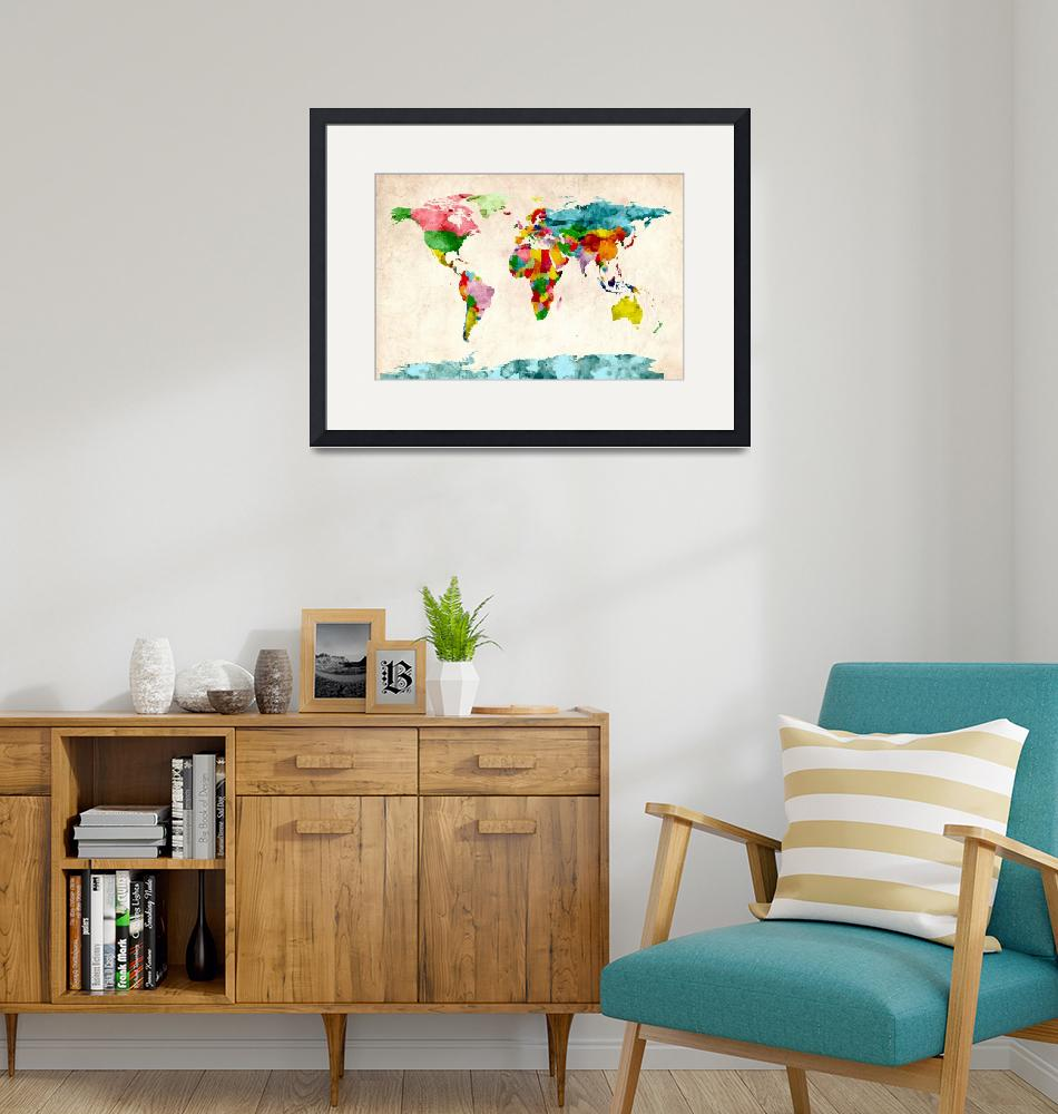 """World Map Watercolors"" (2011) by ModernArtPrints"