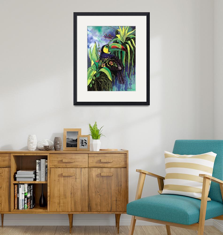 """""""Keel-billed Toucan and Black Orchid""""  by savanna"""