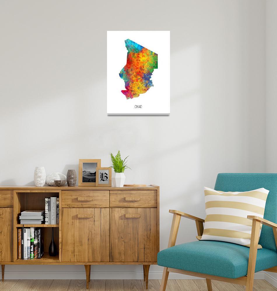 """Chad Watercolor Map""  (2019) by ModernArtPrints"