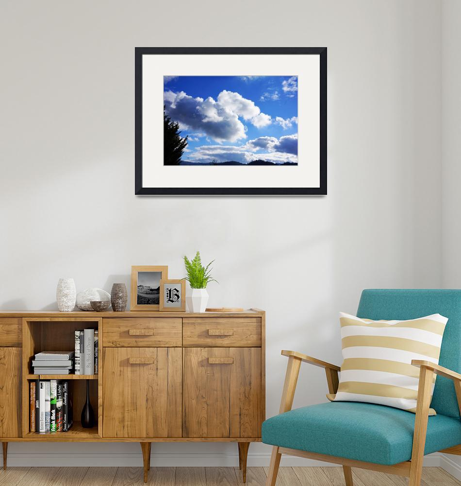 """""""Blue Sky Art Prints White Clouds Tree mountains""""  (2014) by BasleeTroutman"""