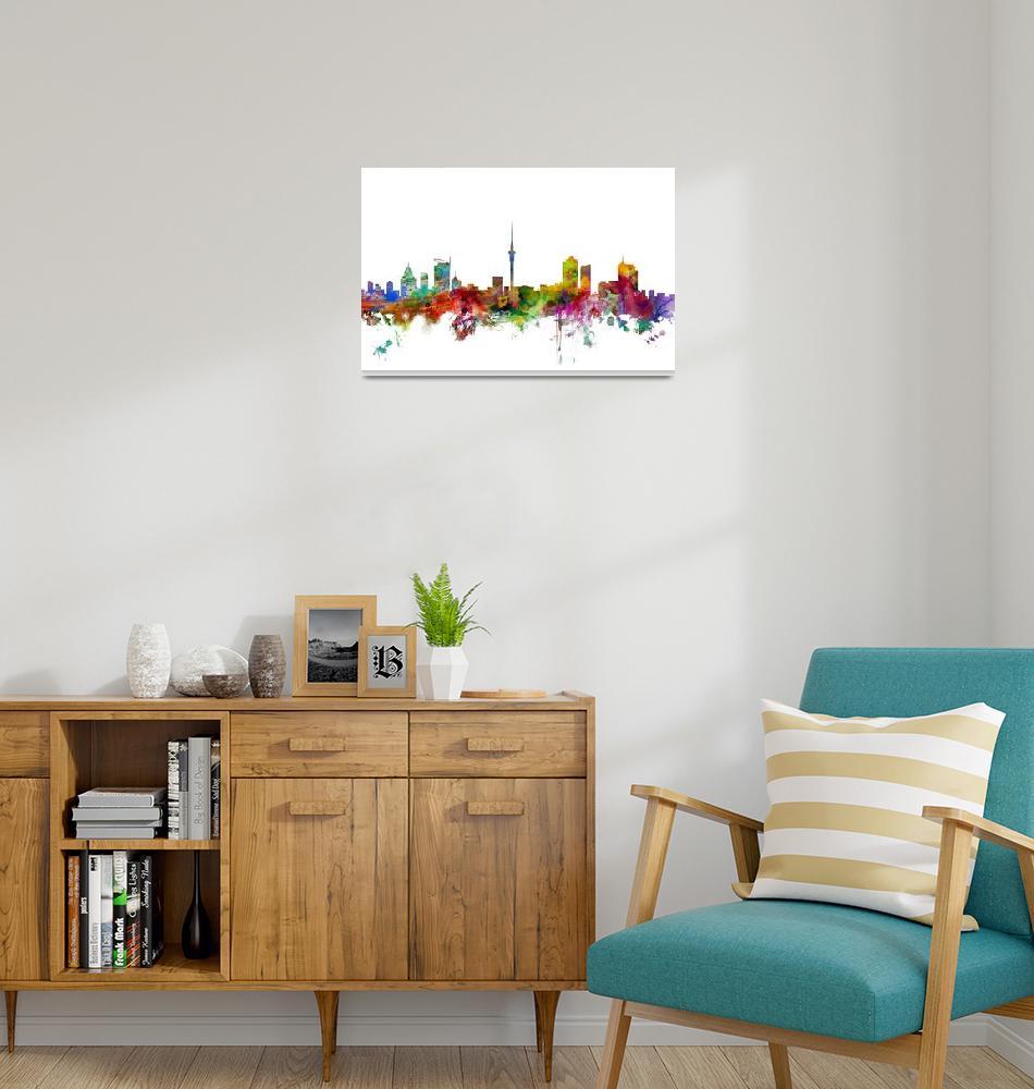 """""""Auckland New Zealand Skyline""""  (2014) by ModernArtPrints"""