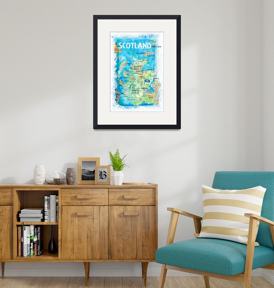 """""""Scotland Illustrated Map with Landmarks and Highli""""  (2020) by arthop77"""