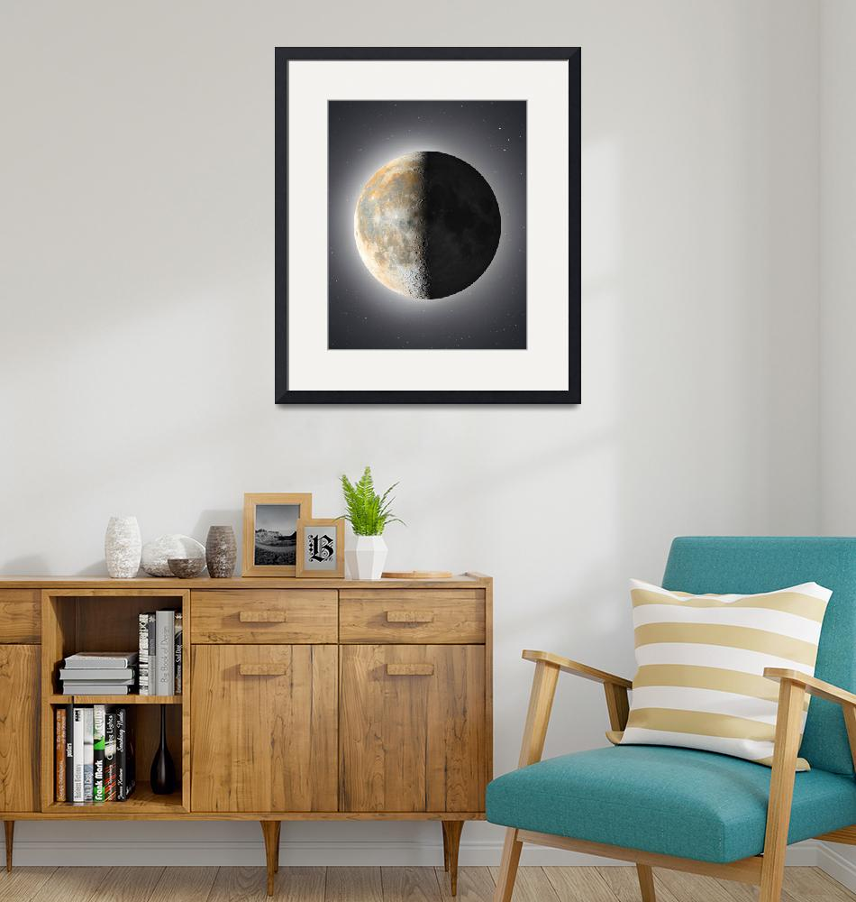 """""""Detailed third quarter Moon"""" (2021) by Astronophilos"""