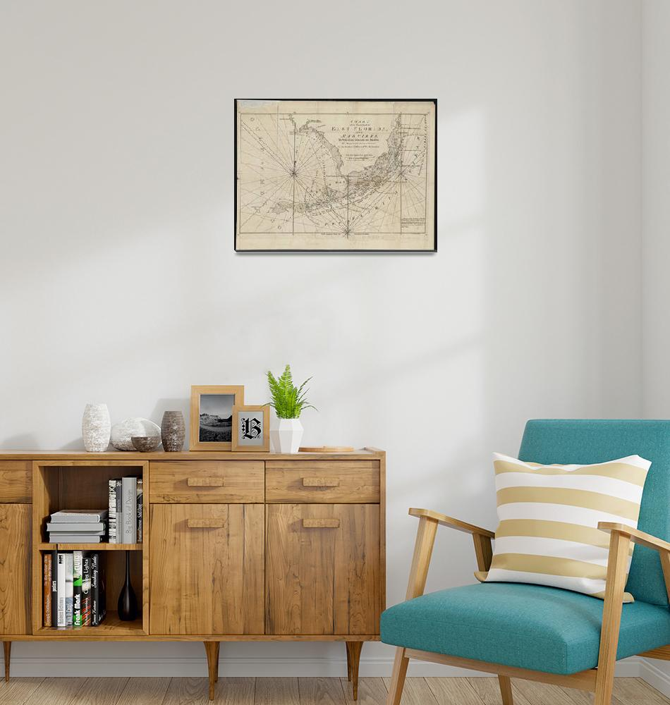 """Vintage Map of The Florida Keys (1771)"" by Alleycatshirts"