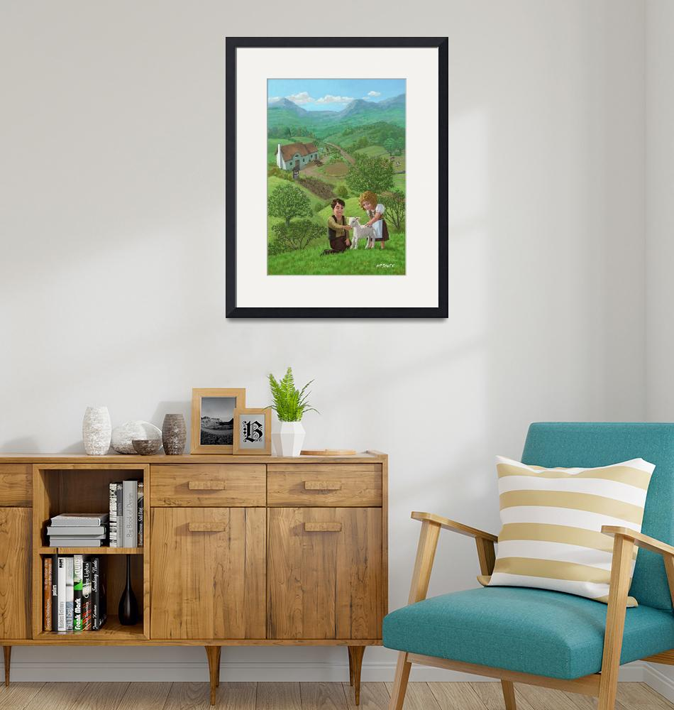 """""""children with lamb in country landscape""""  (2011) by martindavey"""